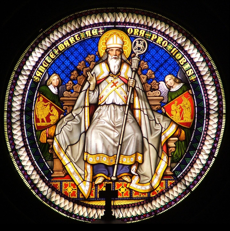 Pannonhalma - a bazilika Szent Mártont ábrázoló főablaka
