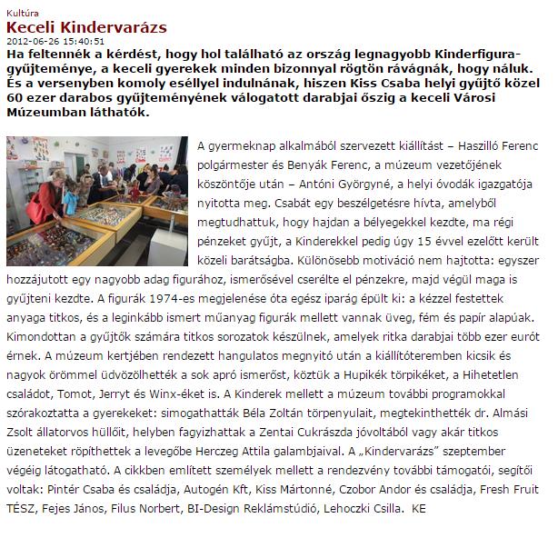 A cikk 2012 júniusában jelent meg a Kistérségi Miújságban.